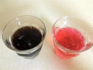 ペプシ塩スイカとペプシネックスをグラスに注いで上からみたところ
