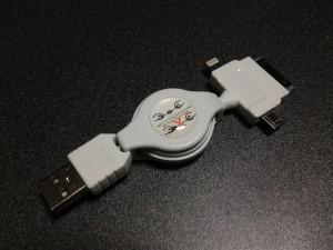 リール式伸縮USBケーブルのパッケージをパッケージから取り出してみたところ
