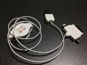 リール式伸縮USBケーブルのケーブルを伸ばしたところ