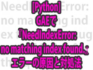 [Python] GAEで『NeedIndexError: no matching index found.』エラーの原因と対処法