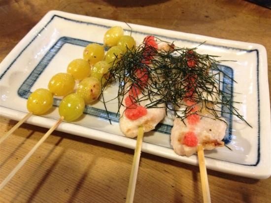 ササミ串の『明太子焼』1本200円と『ぎんなん串』1本180円