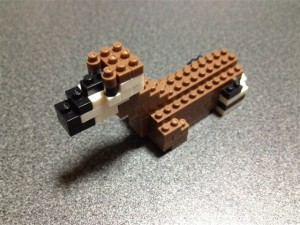 ナノブロックのオカピの頭が完成