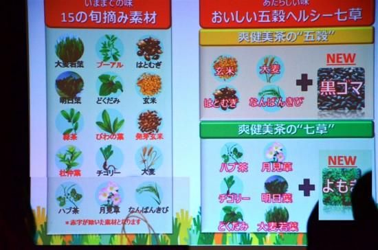 プーアルの他、びわの葉や発芽玄米、杜仲茶などが除かれ、代わりに黒ゴマとヨモギが追加された