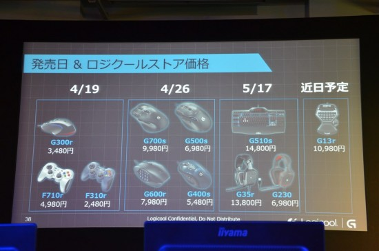 ロジクールGシリーズの発売日と価格の一覧