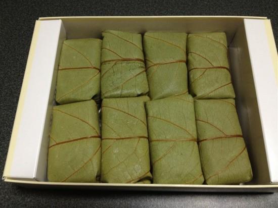 柿の葉寿司の箱を開けてみたところ