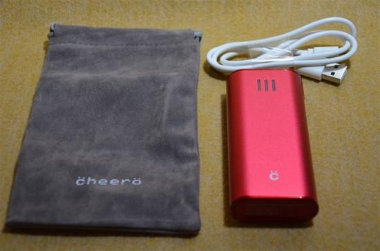 バッテリー本体の他、専用のポーチと充電ケーブルが附属