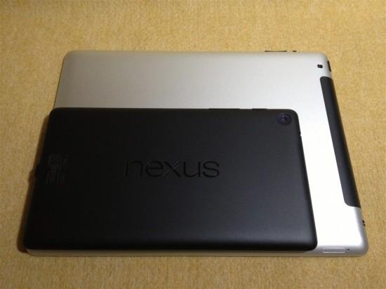 2013年版Nexus7とiPad2のサイズ比較