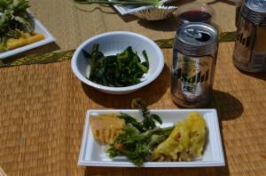 行者にんにくと山菜の天ぷら