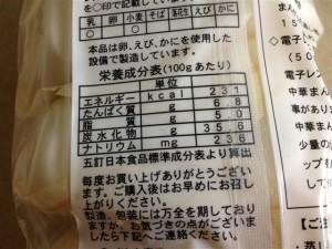 聘珍樓の肉包の栄養成分