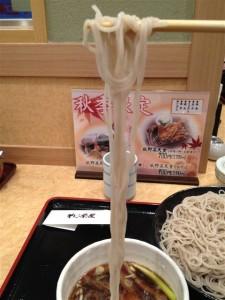 麺は細めで一般的な蕎麦より長い印象