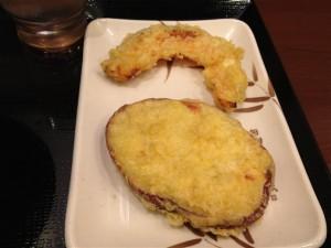 カボチャの天ぷら(80円)とサツマイモの天ぷら(80円)