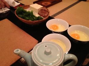 牛鍋の準備